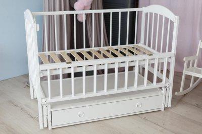 Дитяче ліжко-колиска ЛІЛІЯ Кузя, шухляда+відкидна боковинка біле