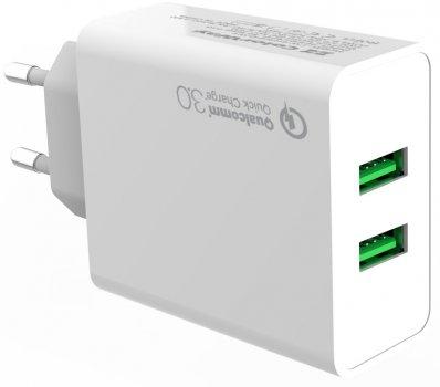 Сетевое зарядное устройство ColorWay 2 USB Quick Charge 3.0 (36W) White (CW-CHS017Q-WT)