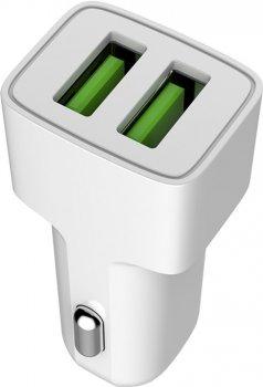Автомобильное зарядное устройство ColorWay 2 USB AUTO ID 2.4A (12W) White (CW-CHA009-WT)