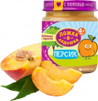 Упаковка фруктового пюре Ложка в ладошке Персик з 4 місяців 100 г х 6 шт. (4815396001274)