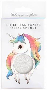Спонж для особи Konjac sponge з чистого конжаку білий з гачком маленький (міфічний єдиноріг)
