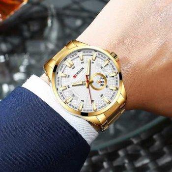 Наручний годинник AlexMosh чоловічі Curren Gold-White (1033)