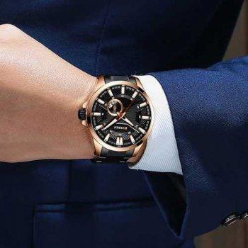 Наручний годинник AlexMosh чоловічі Curren Black-Cuprum (1030)