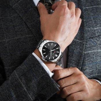 Наручний годинник AlexMosh чоловічі Curren Silver-Black (1018)