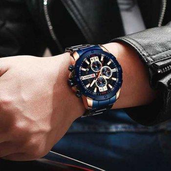 Наручний годинник AlexMosh чоловічі Curren Blue-Cuprum (1023)