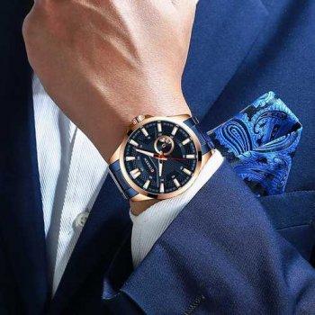 Наручний годинник AlexMosh чоловічі Curren Blue-Cuprum (1031)