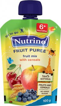 Упаковка фруктового пюре Nutrino з фруктового міксу та злаків з 6 місяців 100 г х 6 шт. (8606019657468)