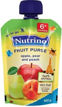 Упаковка фруктового пюре Nutrino з яблука, груші та персика з 6 місяців 100 г х 6 шт. (8606019657482)