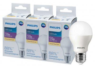 Светодиодная лампа Philips Ecohome LED Bulb 9W E27 3000K 1PF/20RCA (929002299267R) 3 шт.