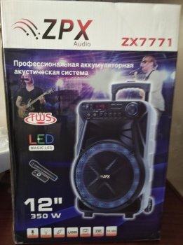 Колонка на аккумуляторе с беспроводным микрофоном ZPX ZX-7771/120W (USB/Bluetooth/FM)