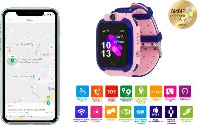Дитячий телефон-годинник Amigo GO002 Swimming Camera Wi-Fi Blue/Pink (dwswgo2p)