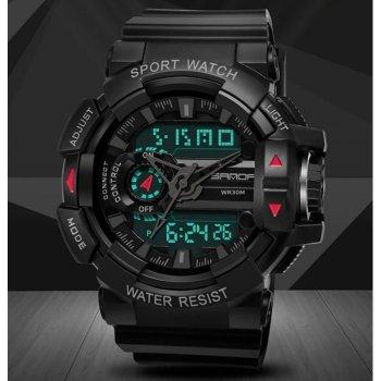 Часы мужские Sanda Box с подсветкой и каучуковым ремешком Черный