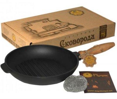 Сковорода-гриль чавунна Наша Майстерня Ø24см з дерев'яною ручкою (PSG_ST-T308)