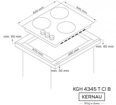 Варильна поверхня газова KERNAU KGH 4345 T CI B