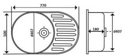 Кухонна мийка LIDZ 7750 Polish 0.8 мм (LIDZ7750POL)