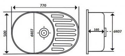 Кухонна мийка LIDZ 7750 Polish 0.6 мм (LIDZ775006POL160)