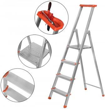 Лестница из 4 ступеней + лоток Kanat Aluminyum Eco KAM-203 Orange/Silver