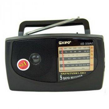 Радиоприёмник портативный Kipo KB-308 AC 5-ти волновый 220B или батарейки 2*R20