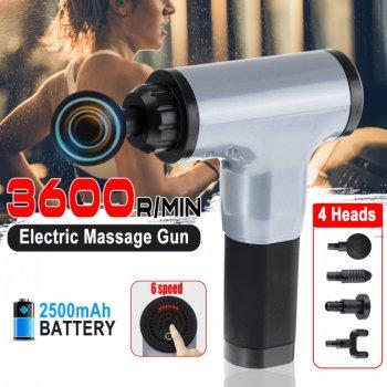 Портативный ручной мышечный массажер для тела Fascial Gun CY-801 Silver-Black