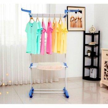 Сушарка для білизни Dreamland трирівнева багатофункціональна, Складна сушка для одягу та речей Біло-синя
