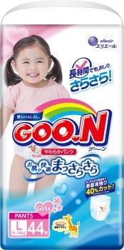 Трусики-підгузки GOO.N для дівчаток 9-14 кг розмір L 132 шт. (853081-3) (4500006493081)