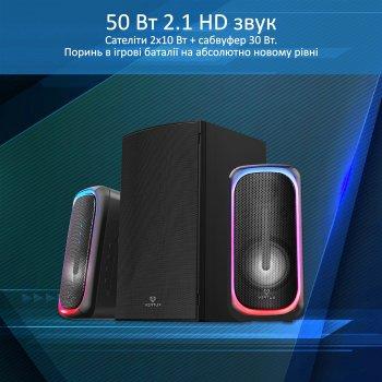 Акустична система Vertux SonicThunder-50 Вт 2.1 LED Black (sonicthunder-50.eu)