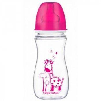 Бутылочка для кормления Canpol babies Антиколиковая EasyStart Цветные зверюшки, малиновая 300 мл (35/204-2)