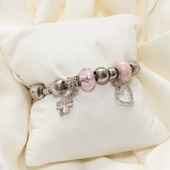 Браслет с шармами 19 см Pandora pink heart