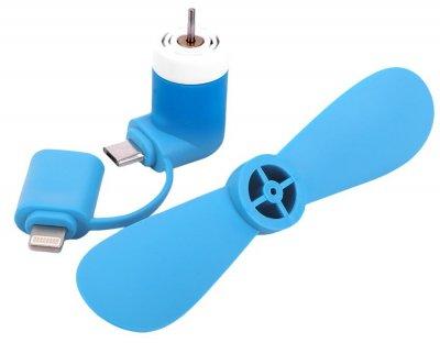 Міні вентилятор для телефону micro USB / Lightning синій