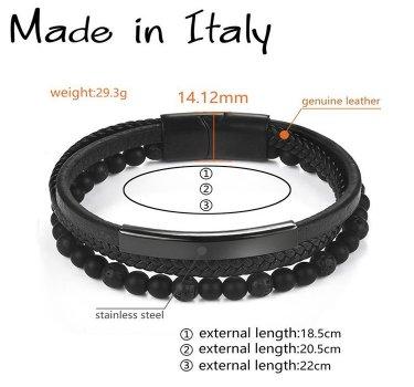 """Браслет """"Made in Italy"""" кожаный со стальными элементами и бусинами из натурального камня 20,5 см чёрный"""