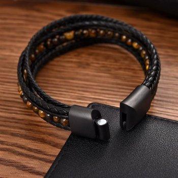 """Браслет """"Made in Italy"""" многослойный кожаный браслет с желтыми бусинами из натурального камня 18,5 см чёрный"""