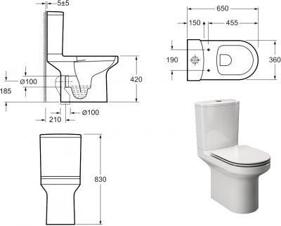 Унітаз-компакт PRIMERA безобідковий із сидінням Soft Close Quick-Fix дюропласт 8390026