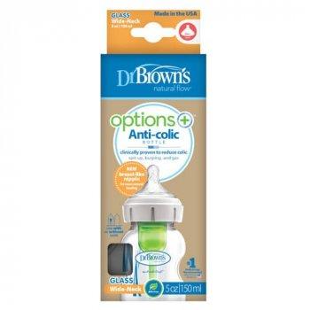 Бутылка стеклянная Dr.Brown's Options с широким горлышком 150 мл