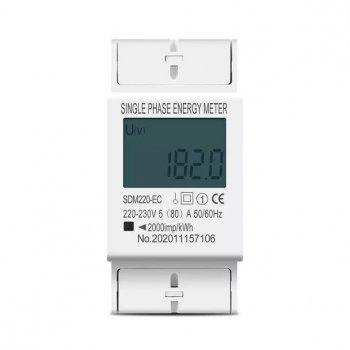 Лічильник електроенергії однофазний SDM220-EL на дін рейку 220В 80А DIN, без підсвічування дисплея
