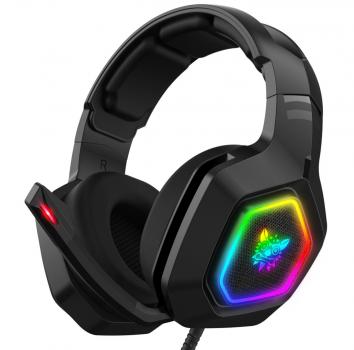 Ігрові навушники з мікрофоном Onikuma K10 Pro RGB підсвічування пульт ДУ шумозаглушення Чорні