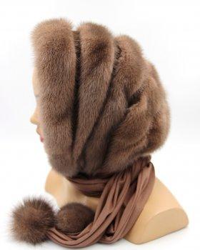 Капор жіночий норковий VECONS Опе size коричневий