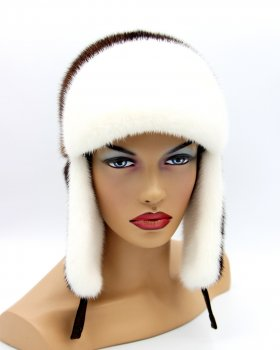 "Жіноча шапка хутряна вушанка з норки VECONS ""Лобик"" One size білий горіх"