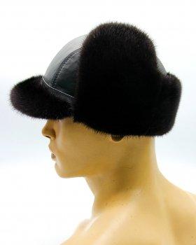 "Норкова чоловіча шапка з козирком кепка з хутра та шкіри VECONS ""М'ячик"" One size чорна"