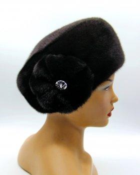 Меховая шапка женская кубанка из норки VECONS One size черная