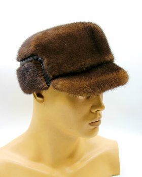 "Норкова хутряна шапка зимова чоловіча кепка VECONS ""Конфедератки"" One size коричнева"