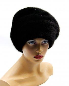 """Норкова шапка жіноча VECONS """"Доллі"""" One size чорна"""