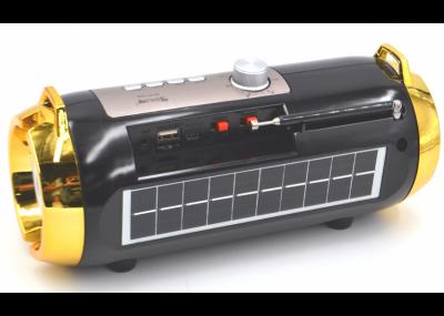 Портативная аккумуляторная Bluetooth колонка Golon RX BT180S с фонарем, солнечной панелью Черно-золотой (11599)