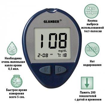 Глюкометр GLANBER® измеритель глюкозы в крови LBS01