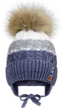 Зимняя шапка с завязками David's Star 2086 50 см Джинс (ROZ6400021903)