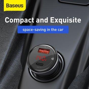 Автомобільний зарядний пристрій Baseus Digital Display QC 4.0+PD3.0 PPS 45W USB + Type-C 5A + Кабель Type-C to Type-C 60W 20V/3A 1м Чорний