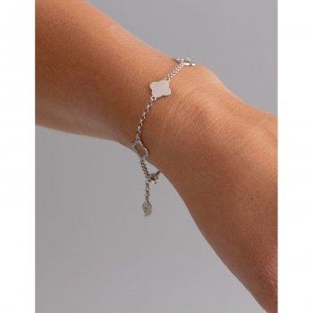 Срібний браслет на руку з підвісками конюшина 16 cava.cool