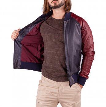 Куртка шкіряна D'ARIENZO BR COLLO Синя з бордовим