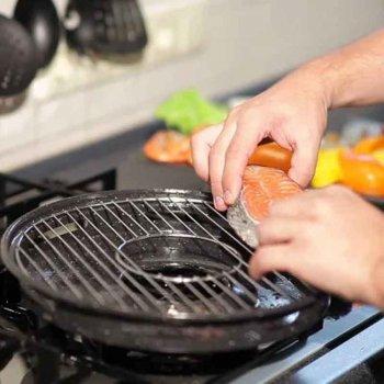 Сковорода гриль - газ с мраморным покрытием для стейков и барбекю Westorm Pan 33 см приготовление без масла дома, в путешествии - Антипригарная походная посуда с крышкой из нержавеющей стали со съемной ручкой, Чёрная