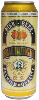 Упаковка пива Brauburger светлое фильтрованное 4.9% 0.5 л х 24 шт (4002631023737)