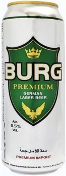 Упаковка пива Burg Lager светлое фильтрованное 5.5% 0.5 л х 24 шт (5060211461262)
